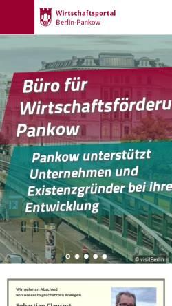 Vorschau der mobilen Webseite www.pankow-wirtschaft.de, Pankow-Wirtschaft - Bezirksamt Pankow von Berlin