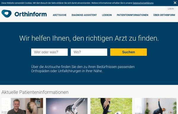 Vorschau von orthinform.de, Orthinform - Berufsverband der Fachärzte für Orthopädie e.V.