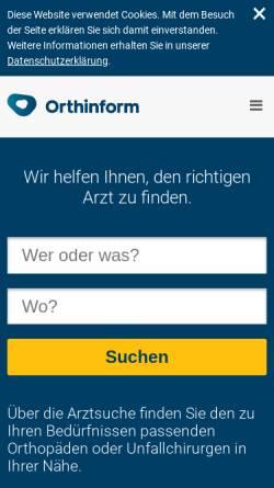 Vorschau der mobilen Webseite orthinform.de, Orthinform - Berufsverband der Fachärzte für Orthopädie e.V.