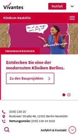 Vorschau der mobilen Webseite www.vivantes.de, Klinikum Neukölln