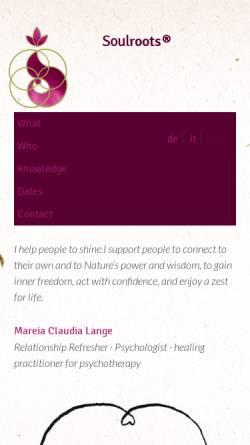 Vorschau der mobilen Webseite soulroots.org, Claudia Lange - Soulroots