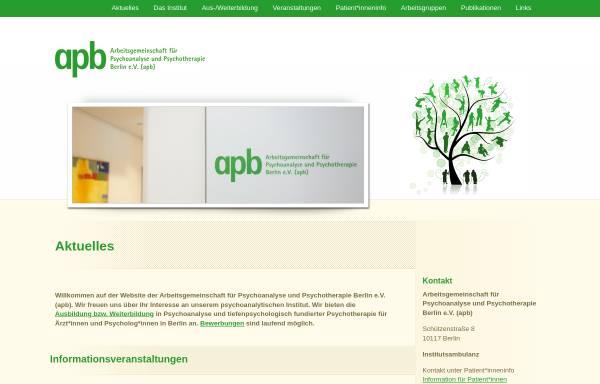 Vorschau von www.apb.de, Arbeitsgemeinschaft für Psychoanalyse und Psychotherapie Berlin e.V.