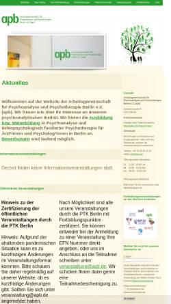 Vorschau der mobilen Webseite www.apb.de, Arbeitsgemeinschaft für Psychoanalyse und Psychotherapie Berlin e.V.
