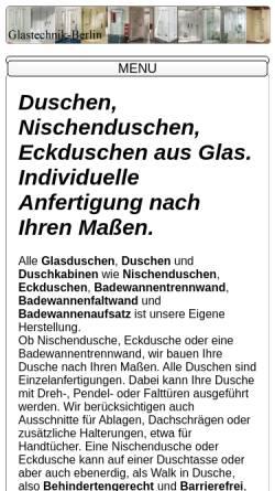 Vorschau der mobilen Webseite www.glastechnik-berlin.de, Glastechnik-Berlin