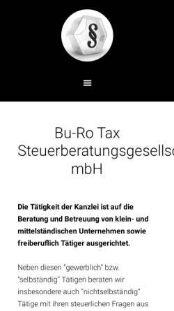 Vorschau der mobilen Webseite www.burotax.de, Bu-Ro Tax Steuerberatungsgesellschaft mbH