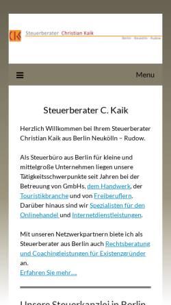 Vorschau der mobilen Webseite www.stb-kaik.de, Dipl. Kfm (FH) Christian Kaik