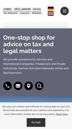 Vorschau der mobilen Webseite www.zabel-stb.de, Diplom Kaufmann Günther Zabel Steuerberater