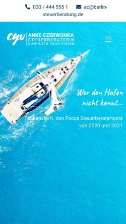 Vorschau der mobilen Webseite www.berlin-steuerberatung.de, Anke Czerwonka Steuerberaterin