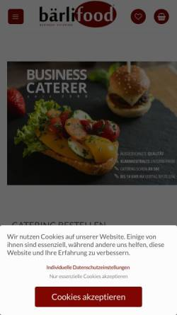 Vorschau der mobilen Webseite www.baerlifood.de, Bpuls Events & Catering GmbH