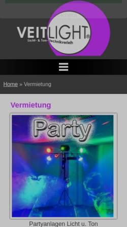 Vorschau der mobilen Webseite www.veitlight.com, Veitlight Licht- und Tontechnikverleih Berlin, Martin Veit