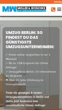 Vorschau der mobilen Webseite www.umzug-berlin.de, Müller&Woschke UG