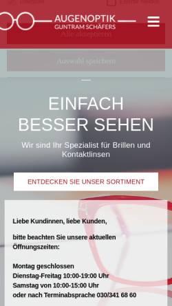 Vorschau der mobilen Webseite schaefers-berlin.de, Augenoptik Guntram Schäfers