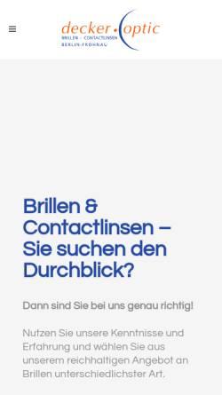 Vorschau der mobilen Webseite www.decker-optic.de, Decker Optic - Augenoptikermeister Rainer Decker