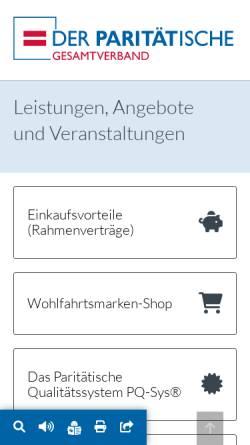 Vorschau der mobilen Webseite www.paritaetische-akademie.de, Paritätische Akademie