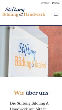 Vorschau der mobilen Webseite www.stiftung-bildung-handwerk.de, Stiftung Bildung Handwerk