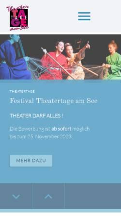 Vorschau der mobilen Webseite www.theatertageamsee.de, Theatertage am See - Festival des Internationalen Amateurtheaters
