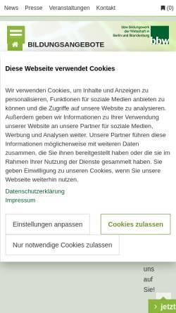 Vorschau der mobilen Webseite www.bbw-gruppe.de, BBW Bildungswerk der Wirtschaft in Berlin und Brandenburg e.V.
