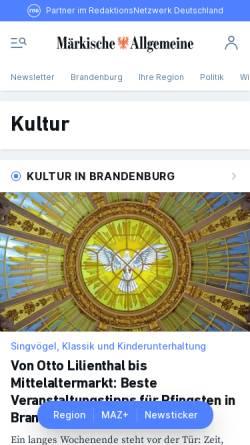 Vorschau der mobilen Webseite www.maz-online.de, Märkische Allgemeine Zeitung - Redaktion Kultur