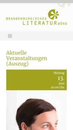 Vorschau der mobilen Webseite www.literaturlandschaft.de, Brandenburgische Literaturlandschaft e.V.