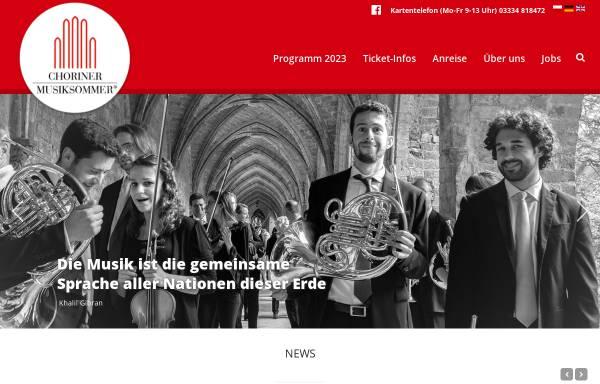 Vorschau von www.choriner-musiksommer.de, Choriner Musiksommer e.V.