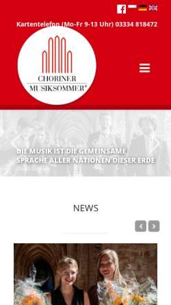 Vorschau der mobilen Webseite www.choriner-musiksommer.de, Choriner Musiksommer e.V.