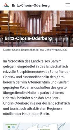 Vorschau der mobilen Webseite britz-chorin-oderberg.de, Amt Britz - Chorin - Oderberg