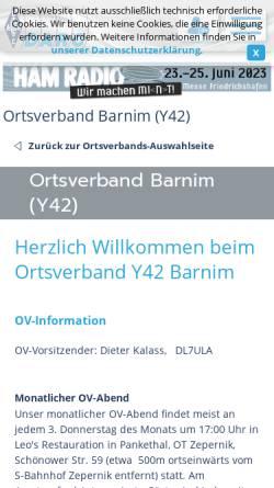 Vorschau der mobilen Webseite www.darc.de, Amateurfunk-Ortsverband Barnim Y42 im DARC e.V.