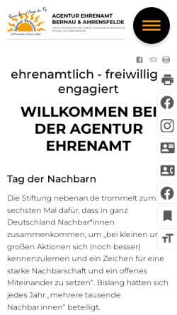 Vorschau der mobilen Webseite www.ehrenamt-barnim.de, Agentur Ehrenamt Barnim - Hoffnungstaler Stiftung Lobetal