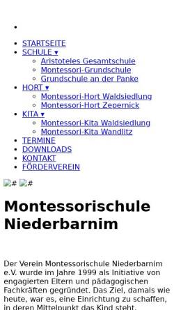 Vorschau der mobilen Webseite montessori-niederbarnim.de, Aristoteles-Gesamtschule - Montessorischule Niederbarnim e.V.