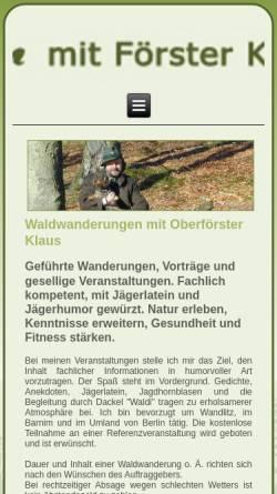 Vorschau der mobilen Webseite www.waldwanderungen.de, Waldwanderungen - Foerster Klaus