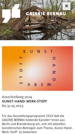 Vorschau der mobilen Webseite www.galerie-bernau.de, Galerie Bernau - BeSt Bernauer Stadtmarketing GmbH