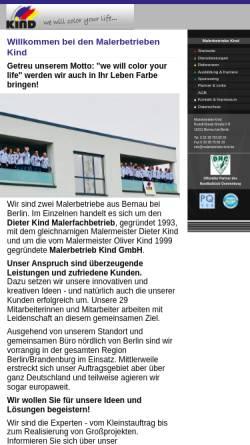 Vorschau der mobilen Webseite www.malerbetriebe-kind.de, Malerbetrieb Kind GmbH