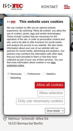 Vorschau der mobilen Webseite www.isotec-deckert.de, Abdichtungstechnik Deckert - Inh. Jens Deckert
