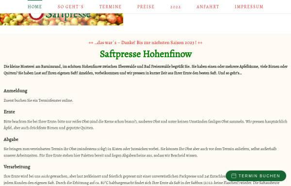 Vorschau von saftpresse-hohenfinow.de, Saftpresse Niederfinow GbR