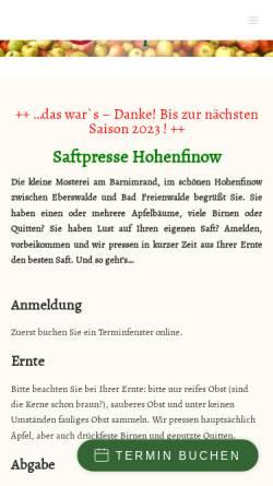 Vorschau der mobilen Webseite saftpresse-hohenfinow.de, Saftpresse Niederfinow GbR