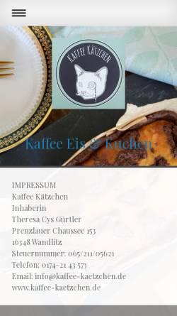 Vorschau der mobilen Webseite www.kaffee-kaetzchen.de, Kaffee Kätzchen - Inh. Theresa Cys
