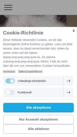 Vorschau der mobilen Webseite www.tierheim-crailsheim-ev.de, Tierschutzverein Tierheim Crailsheim e.V.