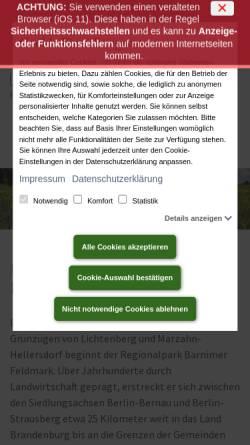 Vorschau der mobilen Webseite www.regionalpark-barnimerfeldmark.de, Regionalpark Barnimer Feldmark e.V.