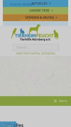 Vorschau der mobilen Webseite www.tierheim-feucht.de, Tierheim Feucht