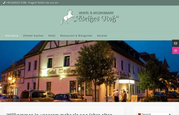 Vorschau von www.hotel-elsterwerda.de, Hotel Weißes Ross - Strehle und Lippitsch GbR