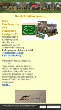 Vorschau der mobilen Webseite www.hundesportverein-falkenberg.de, Hundesportverein Falkenberg - Uebigau e.V.
