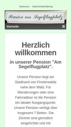 Vorschau der mobilen Webseite www.pension-am-segelflugplatz.de, Pension Am Segelflugplatz - Inh. Gabriela Zenker