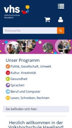 Vorschau der mobilen Webseite vhs-havelland.de, Musik-, Kunst- und Volkshochschule Havelland