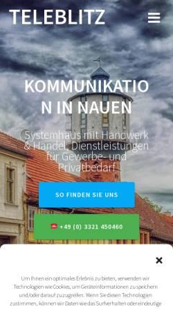Vorschau der mobilen Webseite www.teleblitz.de, Manteufel-Telefonanlagen