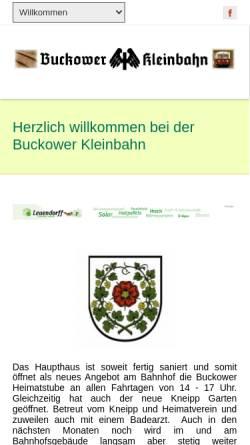 Vorschau der mobilen Webseite www.buckower-kleinbahn.de, Museumsbahn Buckower Kleinbahn e. V.