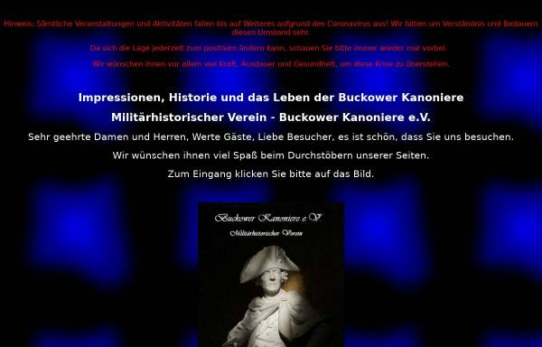Vorschau von www.buckower-kanoniere.de, Buckower Kanoniere e.V.