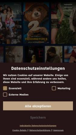 Vorschau der mobilen Webseite www.parklichtspiele.de, Parklichtspiele Buckow - Grundlicht GmbH
