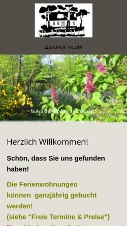 Vorschau der mobilen Webseite www.biohof-ihlow.de, Biohof Ihlow - Marion Rothschild