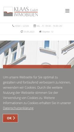 Vorschau der mobilen Webseite www.klaasimmobilien.de, Klaas Immobilien GmbH