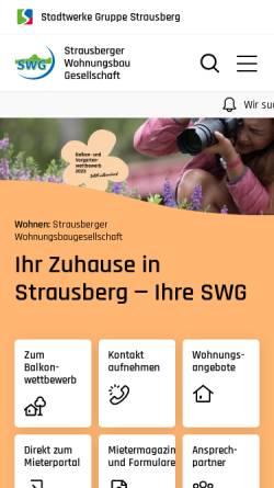 Vorschau der mobilen Webseite www.swg-strausberg.de, Strausberger Wohnungsbau Gesellschaft mbH